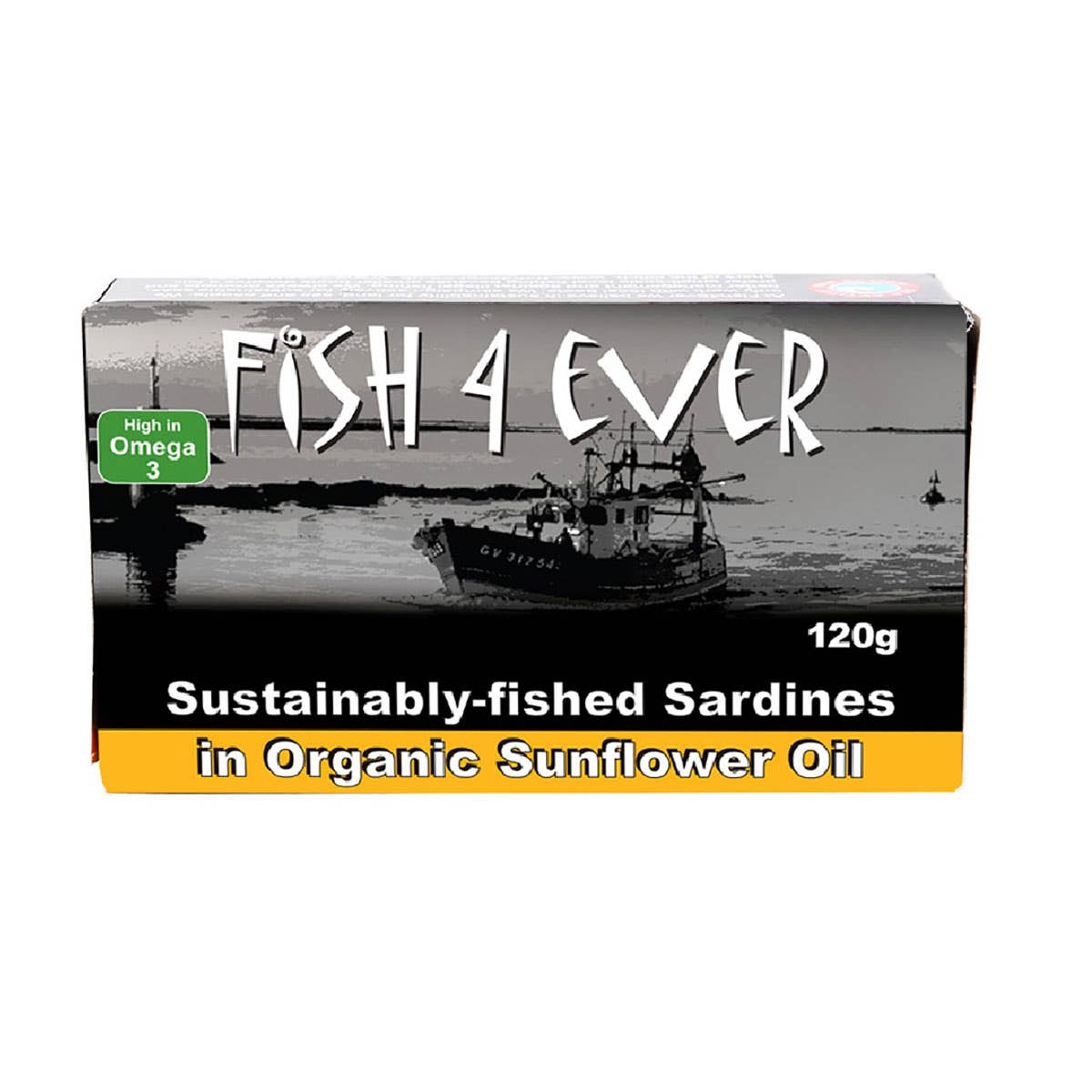 Fish 4 Ever Whole Sardines in Organic Sunflower Oil (120g)