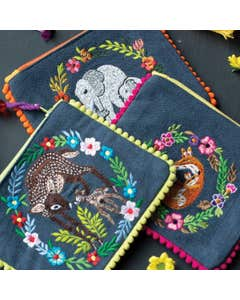 Zip Purse with Embroidered Animal Design