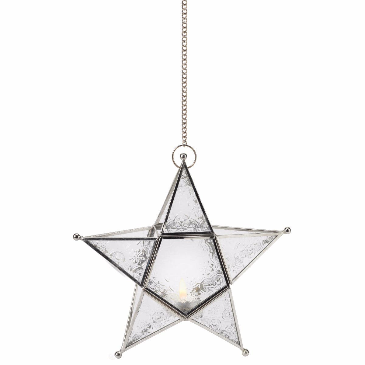 Hanging Star Tealight Holder - Clear