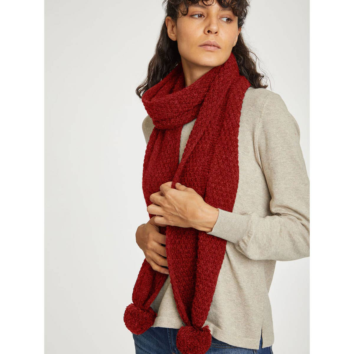 Thought Jordunn Wool and Cotton Blend Pom Pom Scarf