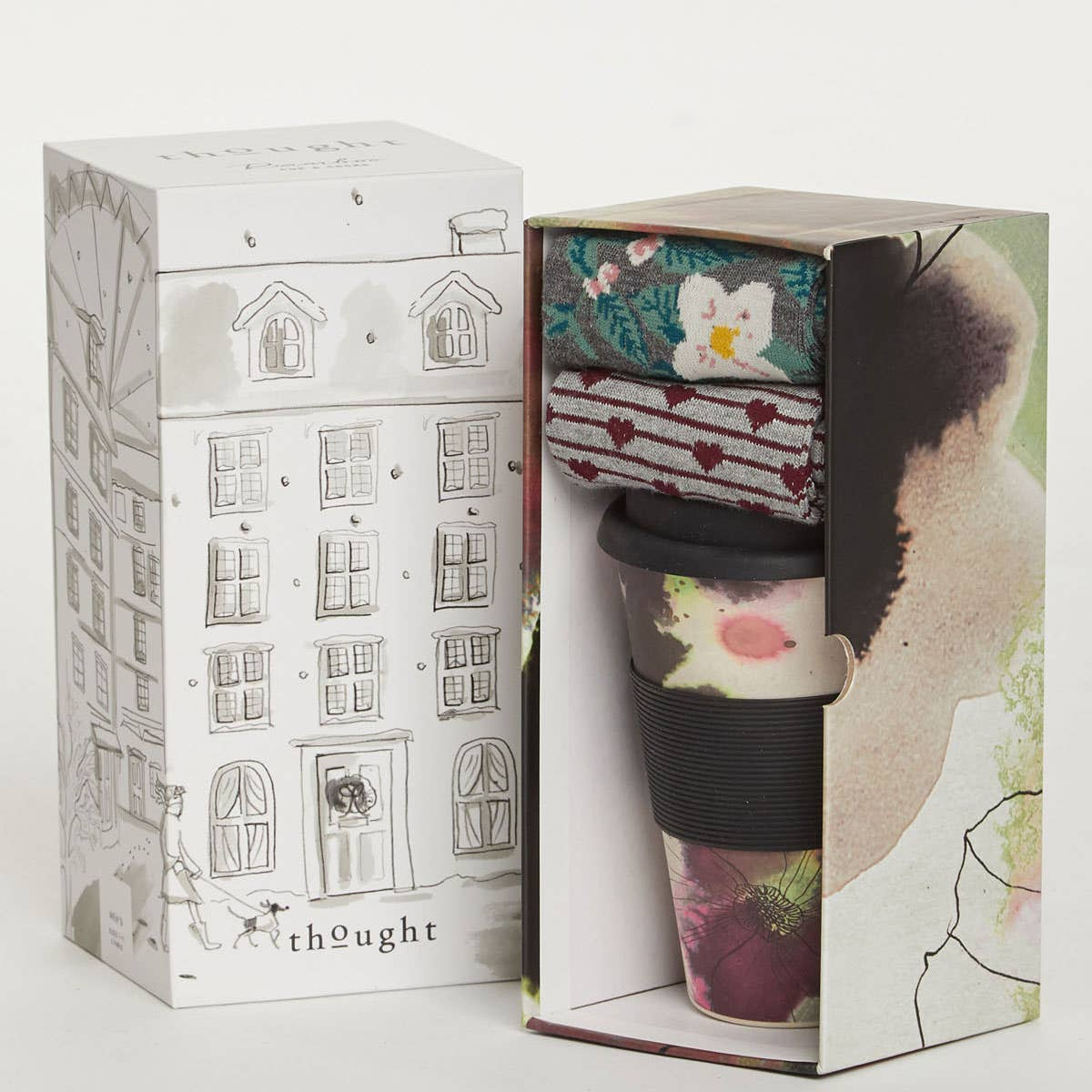 Thought Women's Floral Bamboo Cup & Socks Gift Set