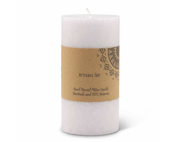 White Frosted Pillar Candle - Medium