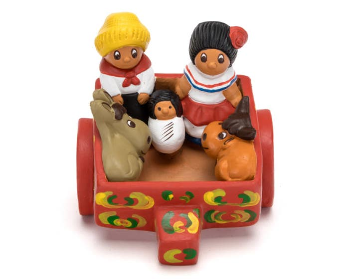 Hand-Painted Ceramic Nativity in a Cart
