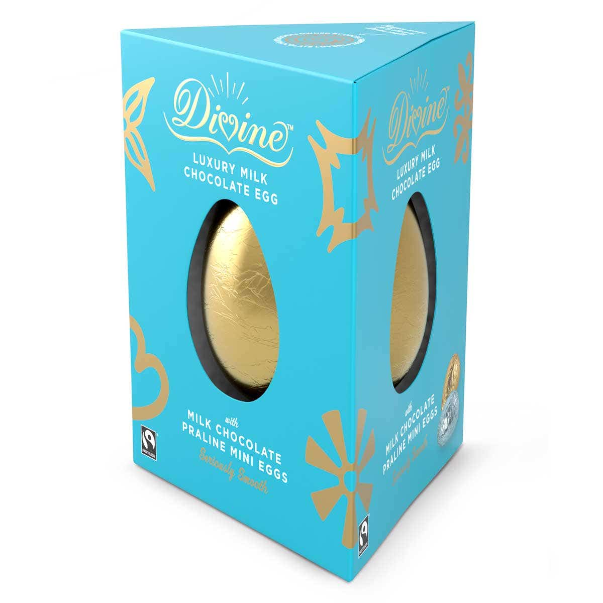 Divine Milk Chocolate Luxury Easter Egg with Praline Mini Eggs