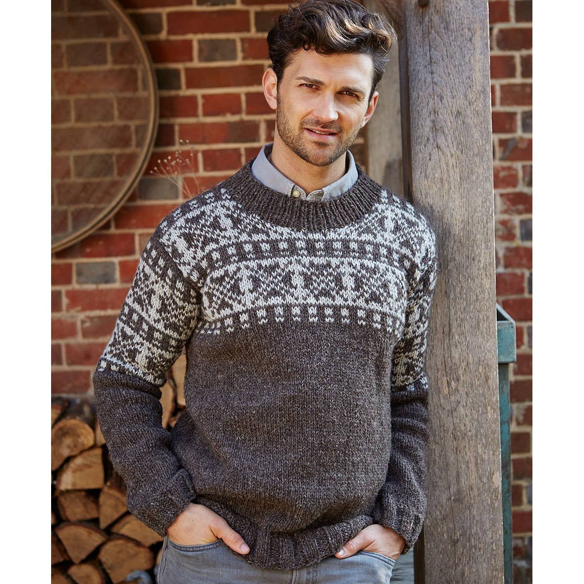 Men's Chunky Knit Fleece Lined Sweater (M/L)