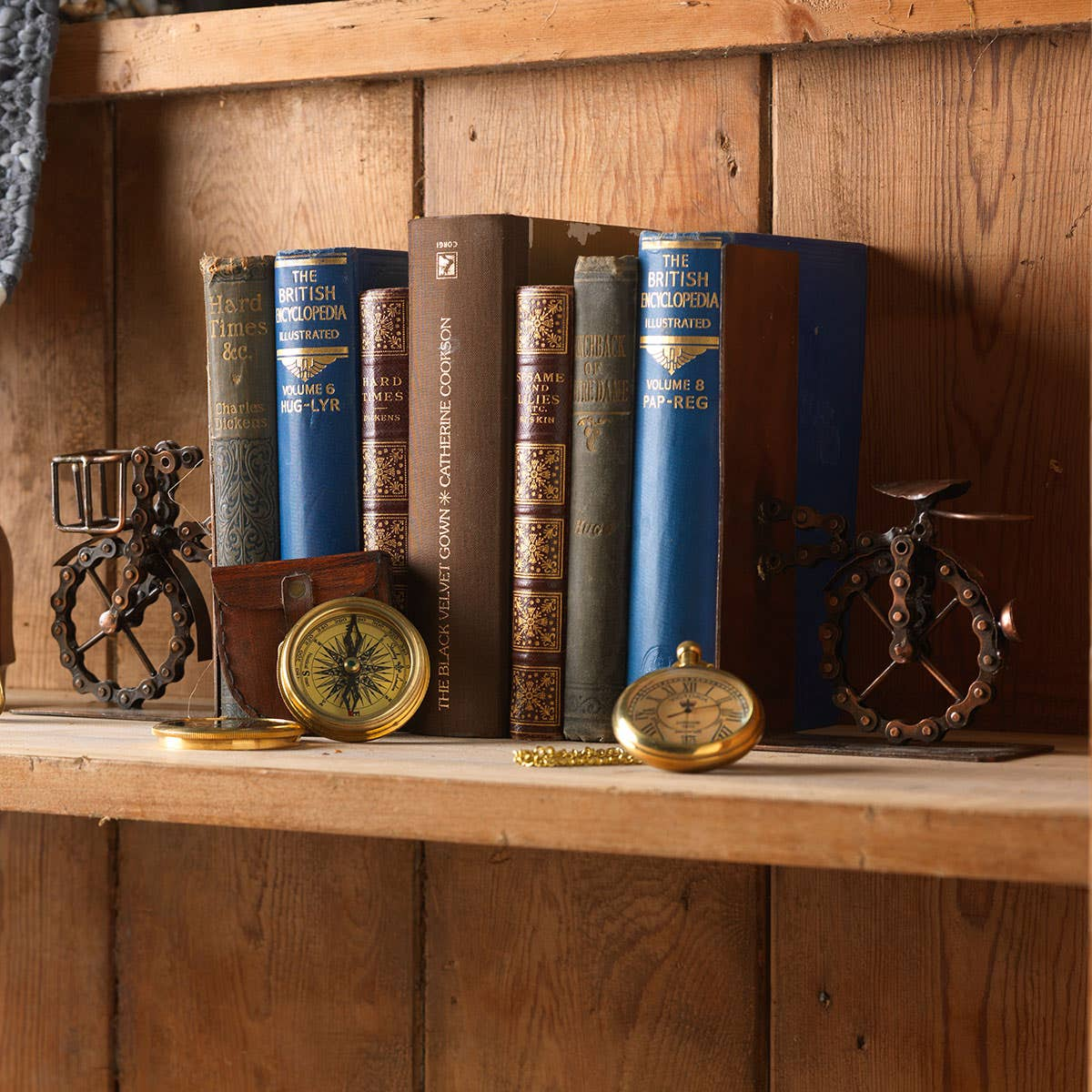 Recycled Bicycle Chain Bookends