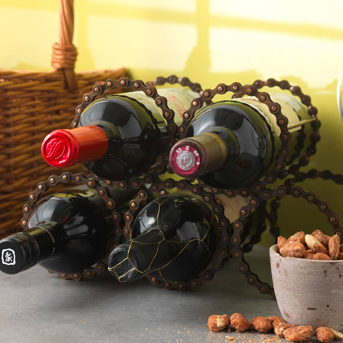 Recycled Bicycle Chain Wine Rack