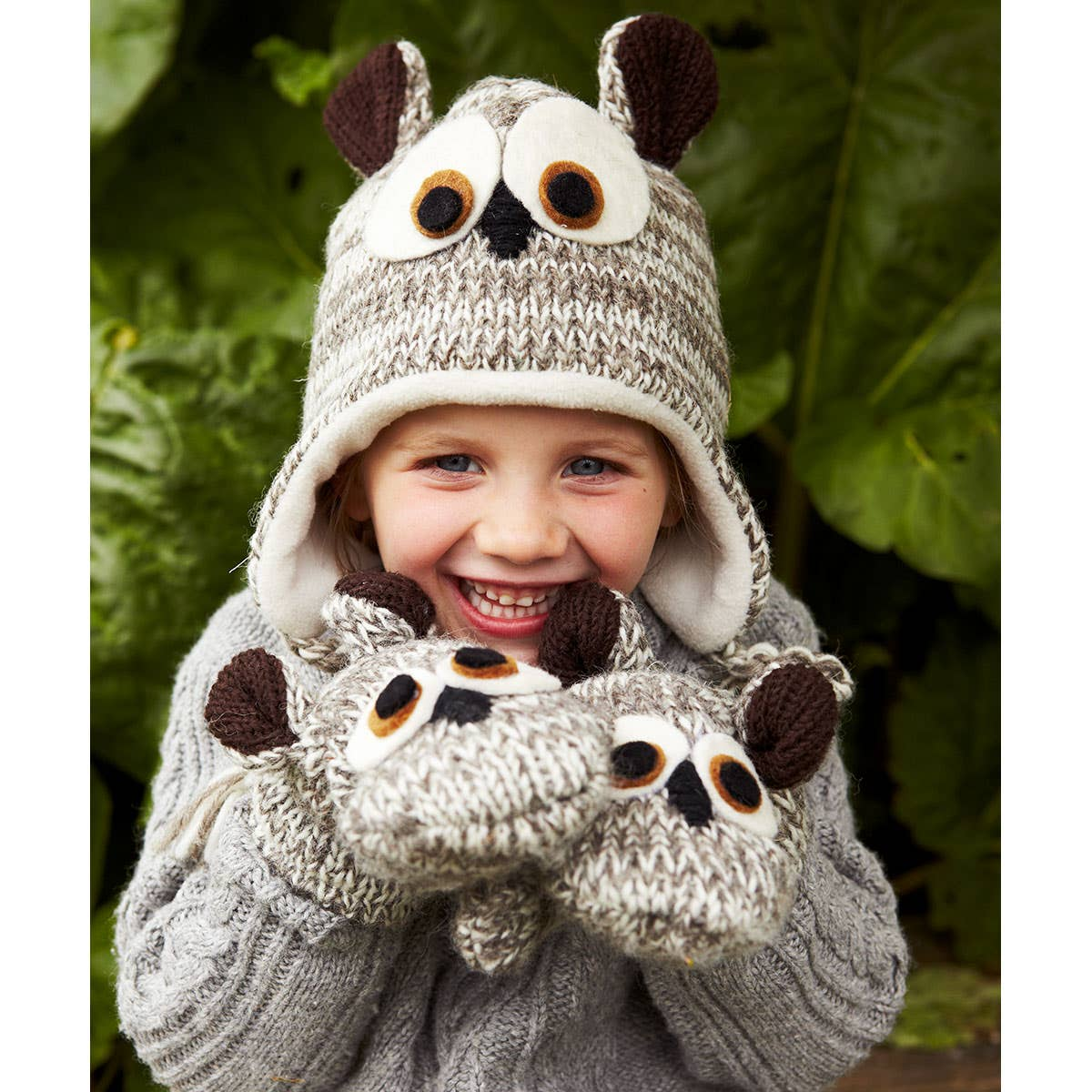 Kids' 100% Wool Fleece Lined Owl Hat