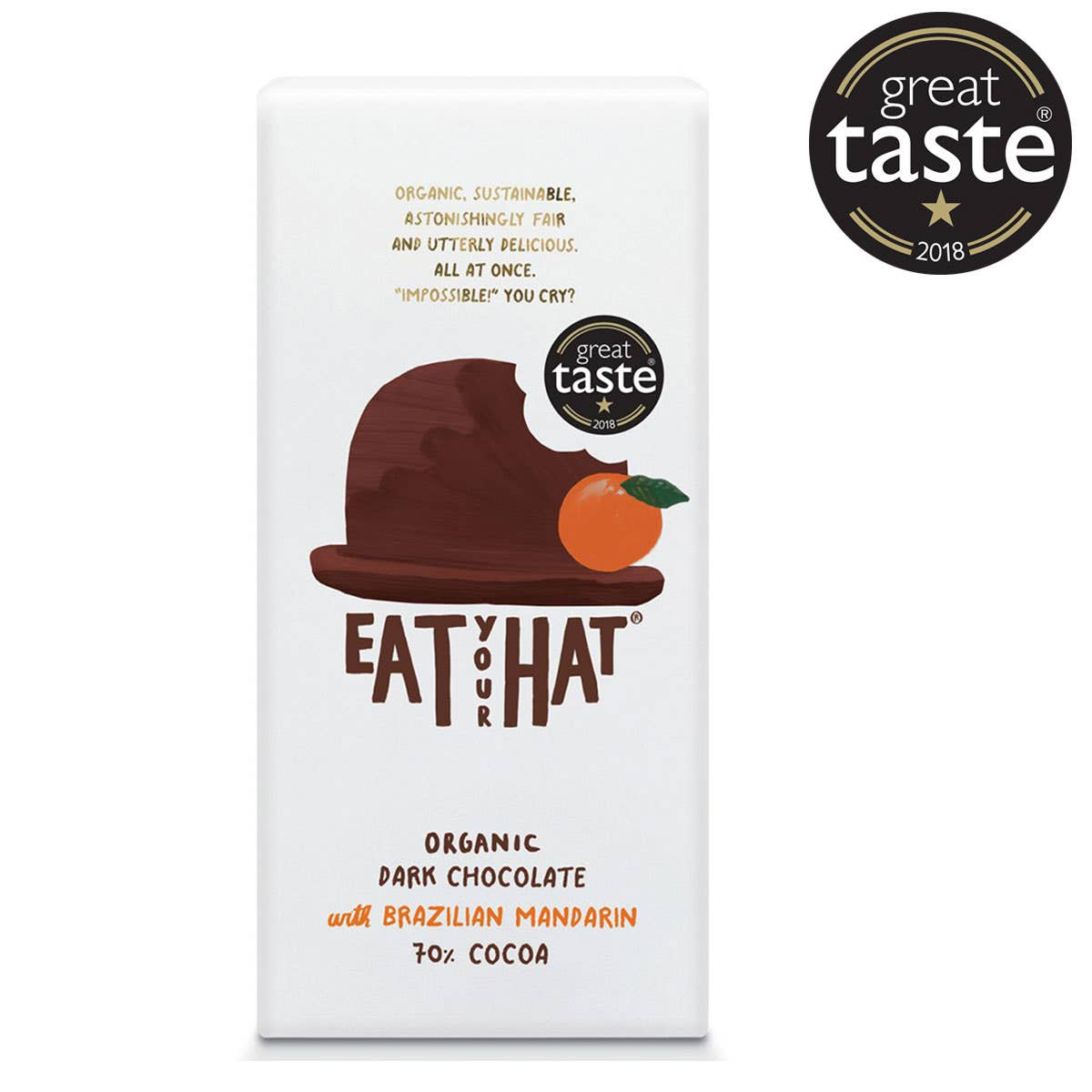 Eat Your Hat Organic Dark Chocolate & Brazilian Mandarin (91g) SINGLE