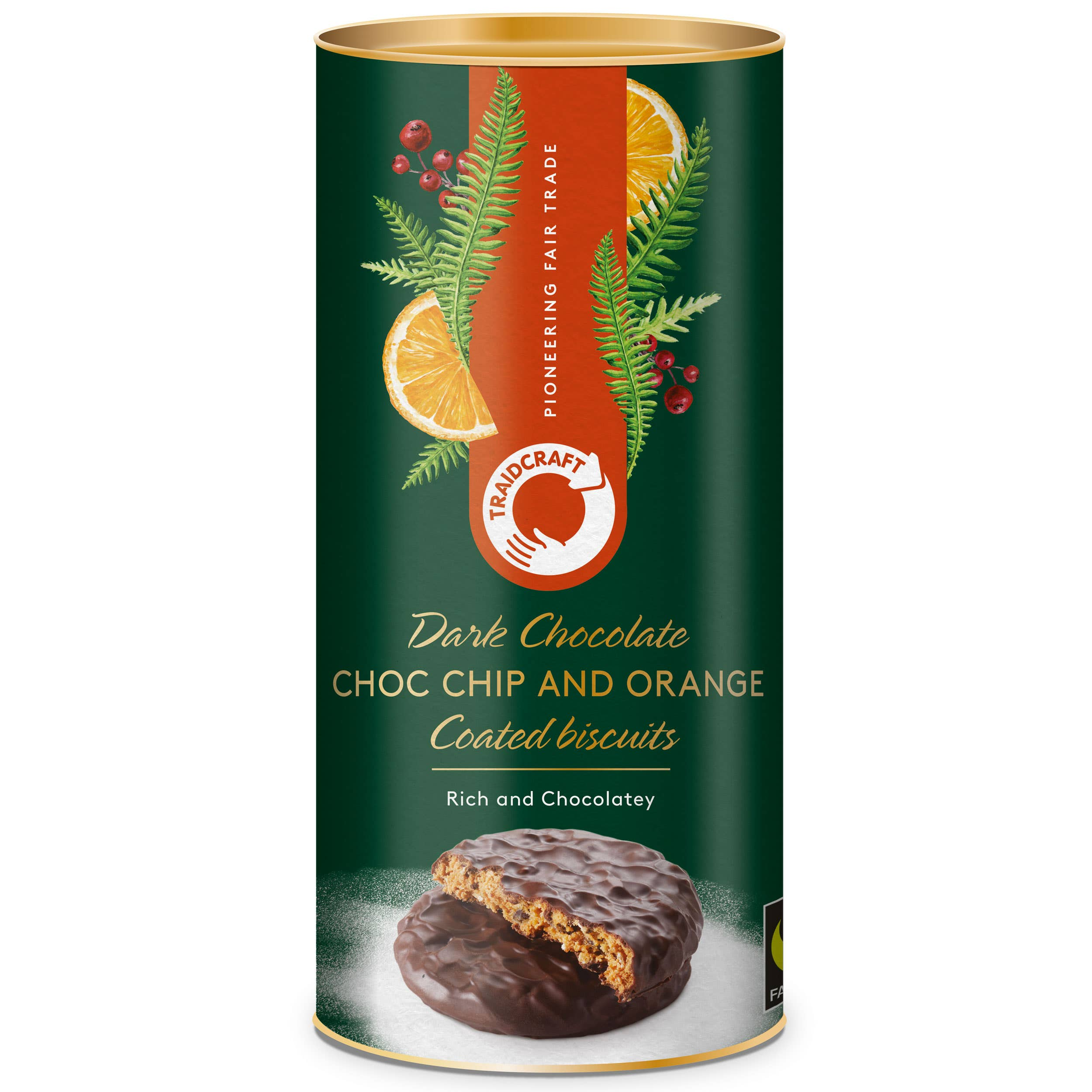 Traidcraft Dark Chocolate Coated Chocolate Chip & Orange Biscuits (12x200g) CASE