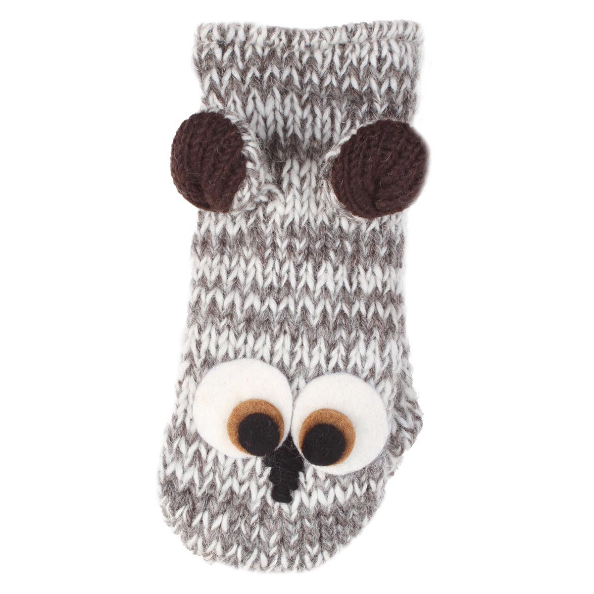 Kids' 100% Wool Fleece Lined Owl Mittens