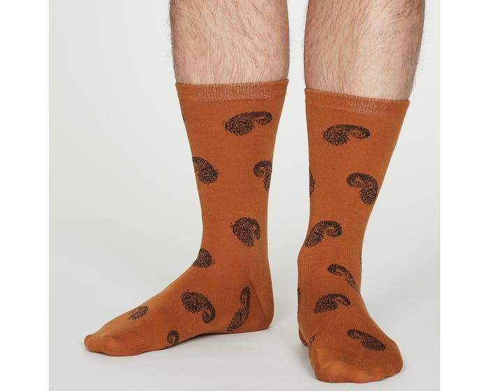 Thought Men's Homer Bamboo Blend Amber Paisley Socks