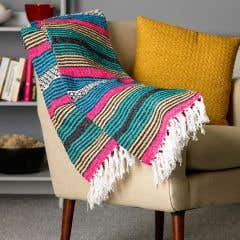 Handmade Recycled Cotton Blue Stripe Throw