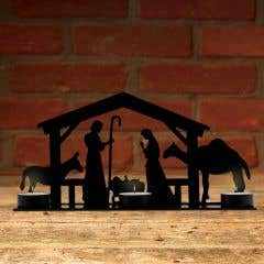 Handmade Metal Nativity Scene Tealight Holder