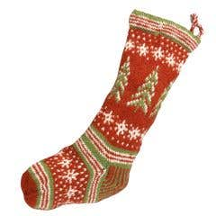 Retro Handknit Christmas Stocking with Trees