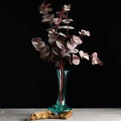 Recycled Glass Vase with Teak Root Stand