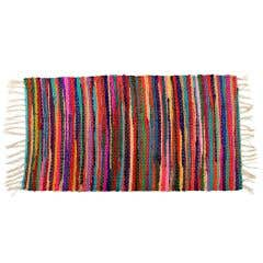 Bright Fringed Handmade Recycled Rag Rug