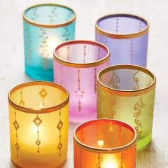 Recycled Glass Tealight with Handpainted Design