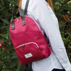 Berry Double Zipped Nylon Backpack with Front Pocket