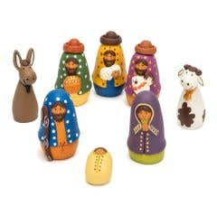 Hand-Painted Ceramic Nativity - 8 Pieces