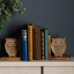 Wooden Mangowood Owl Bookends