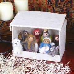 Eight Piece Hand Felted Nativity Scene in Lokta Paper Box