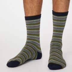 Thought Men's Blue Stripe Bamboo, Recycled Polyester and Organic Cotton Blend Socks