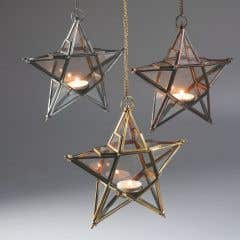 Gold Hanging Star Tealight