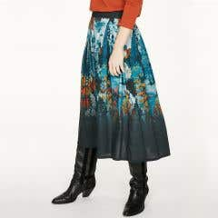 Thought Sissinghurst 100% Tencel Floral Pattern Navy Skirt
