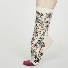 Thought Women's Organic Cotton Blend Floral Amice Cream Socks