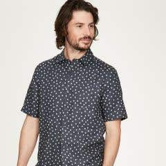 Thought Men's Domenico Navy Spot Short Sleeve Shirt