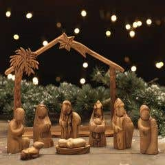 Hand-Carved Olivewood Nativity Set