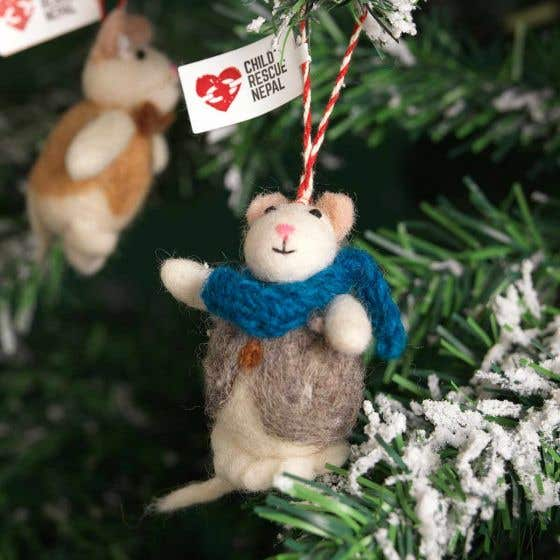 100% Wool Felt Mouse with Handknit Accessory