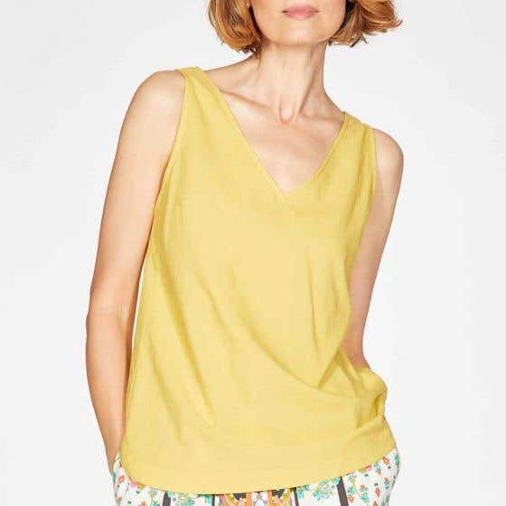 Thought Imogen Organic Cotton and Modal Blend V-Neck Top Size 14