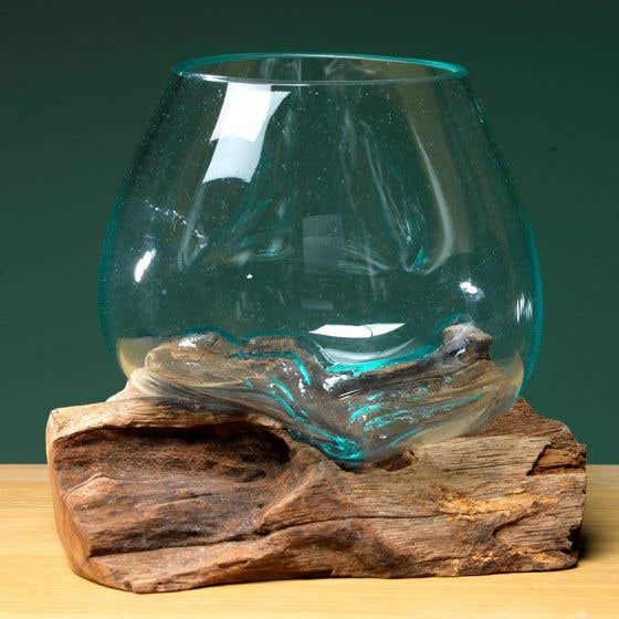 Recycled Glass Bowl Vase with Teak Root Stand