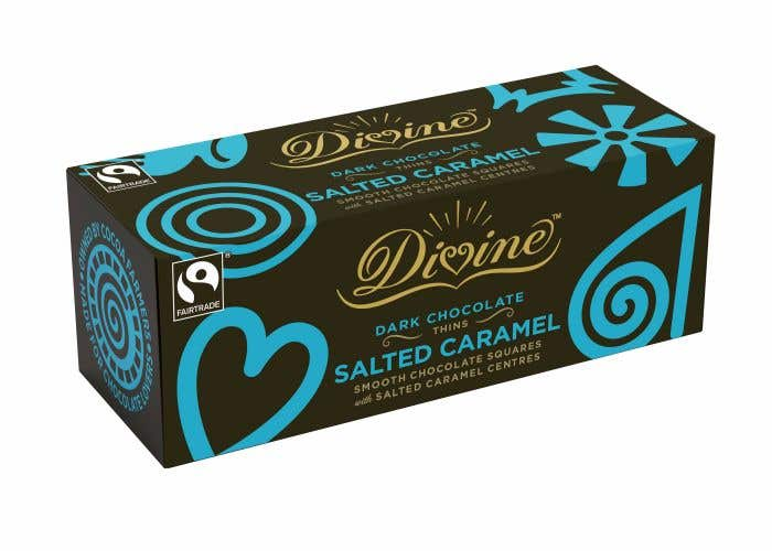 Divine Dark Chocolate Salted Caramel Thins (12x200g) CASE