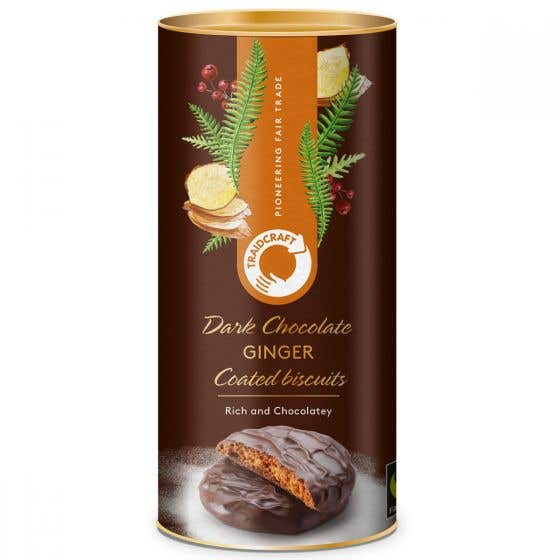 Traidcraft Dark Chocolate Coated Ginger Biscuits (200g)