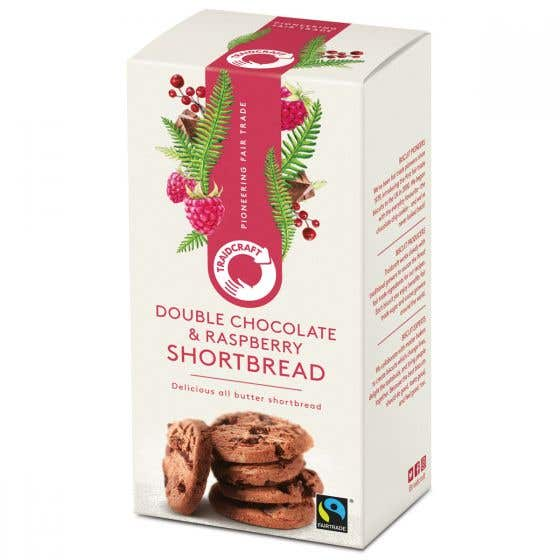 Traidcraft Dark Chocolate Chunk & Raspberry Shortbread Rounds (8x160g) CASE