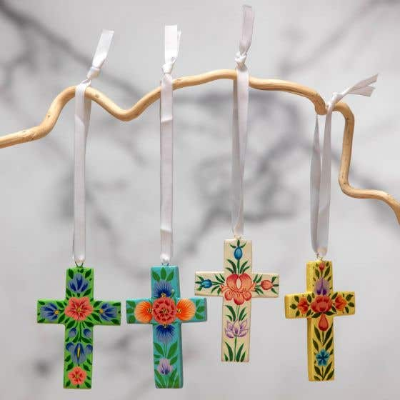 Hanging Wooden Cross Decorations