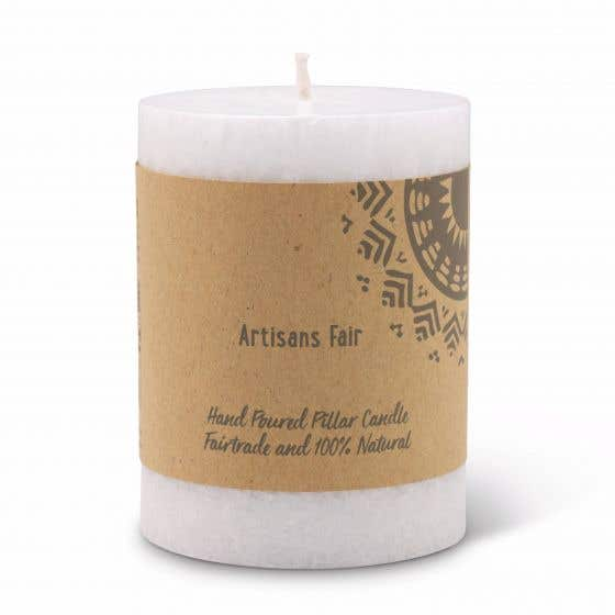 White Frosted Pillar Candle - Small