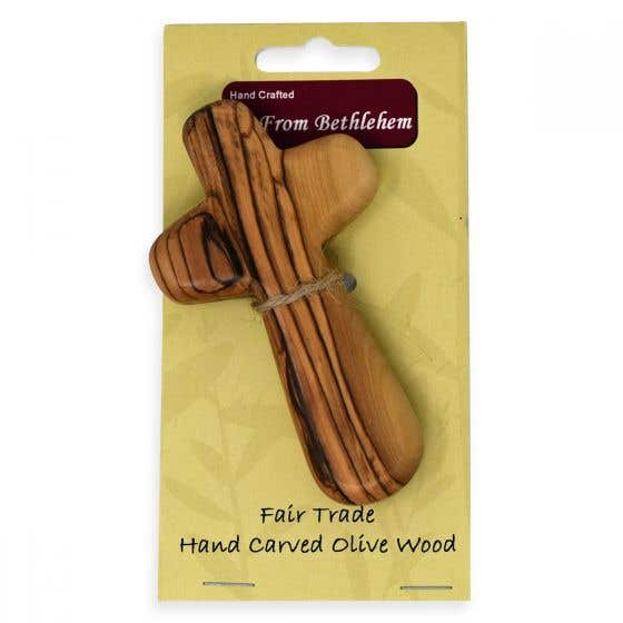 Hand Carved Olivewood Holding Cross