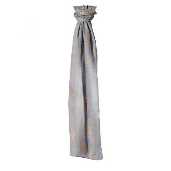 Feather Print Grey Cotton Scarf