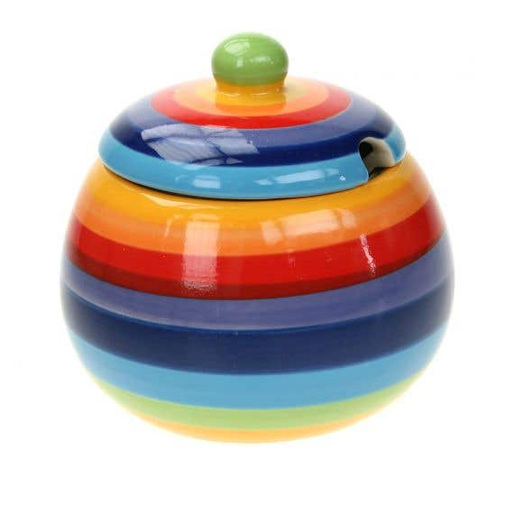 Hand-painted Rainbow Sugar Bowl with Lid