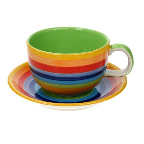 Hand-painted Rainbow Cup & Saucer
