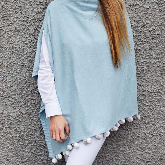Sky Blue Cotton Poncho with Pom Pom Trim