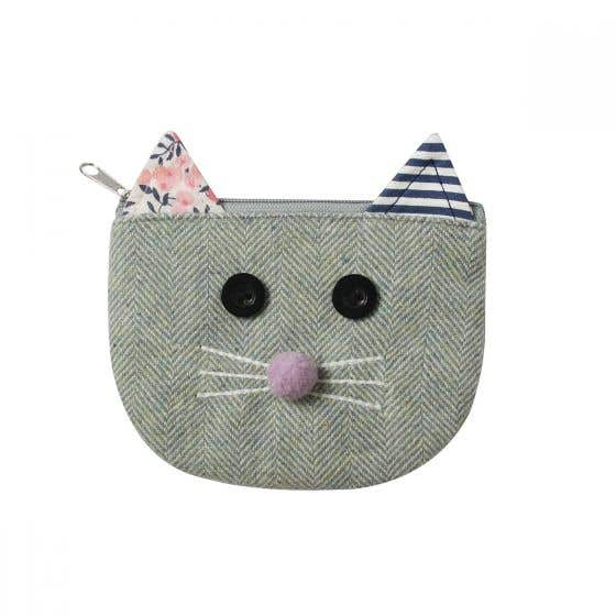 Herringbone Cat Purse with Patchwork Ears
