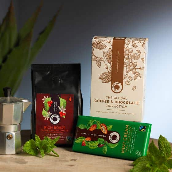 Traidcraft Rich Roast Coffee & Mint Dark Chocolate Gift Box Set