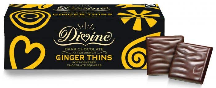 Divine Dark Chocolate Ginger Thins (200g) SINGLE
