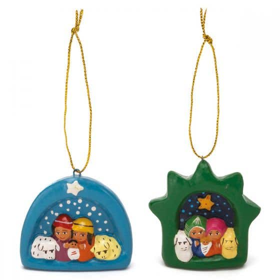Hand Painted Ceramic Nativity Hanging Decorations - Set of Two