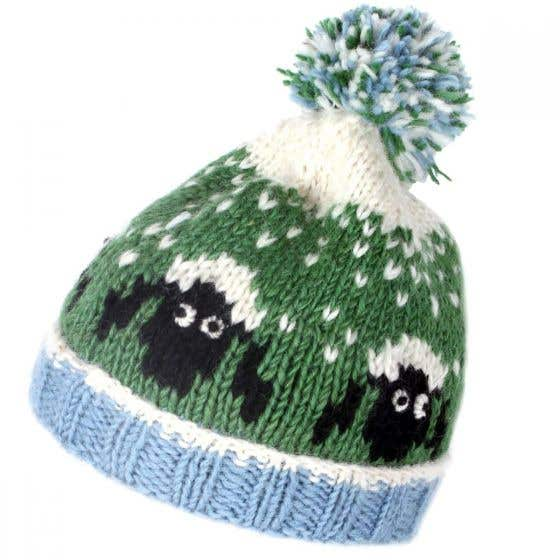 Kids Wool Bobble Hat with Flock of Sheep Design